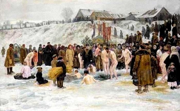 Купание после освящения воды. 1903 год. Автор: Н.Грандковский