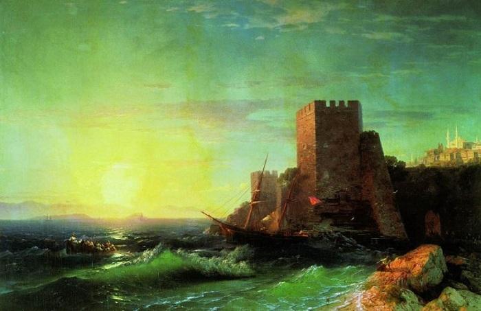 Башни на скале у Босфора. Автор. И.К.Айвазовский.