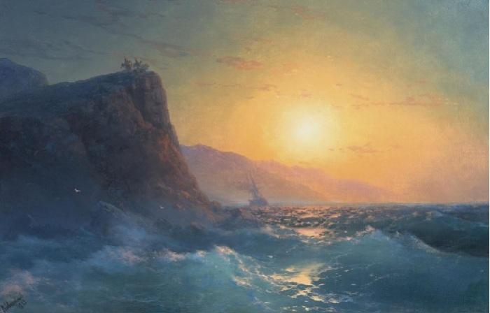 «Вид на крутой скалистый берег и бурное море на закате». Автор. И.К.Айвазовский.