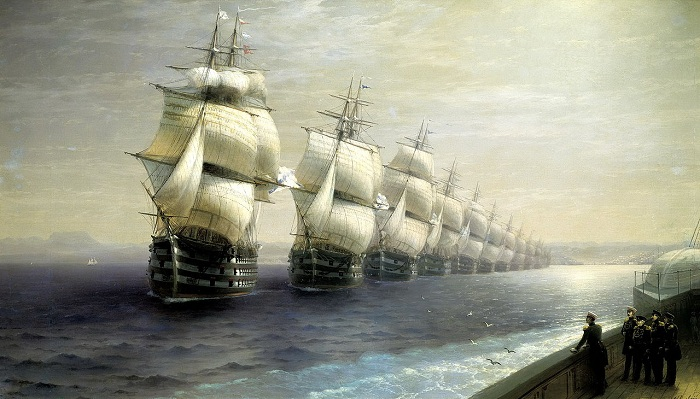Смотр Черноморского флота в 1849 году (первым идет флагман «12 Апостолов»). Автор. И.К.Айвазовский.