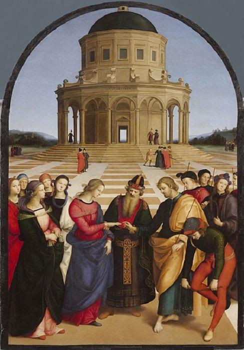 Обручение Девы Марии и Иосифа. (1504). Автор: Рафаэль Санти.