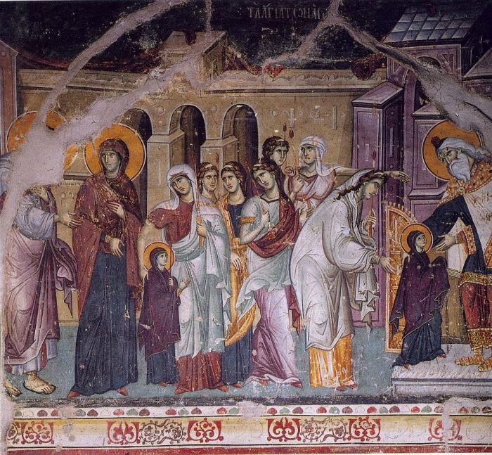 Мануил Панселин. Введение во храм Пресвятой Богородицы. Фреска. 1290-1310. Протат. Афон
