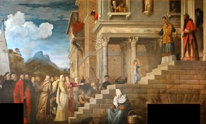 Тициан Вечеллио. Введение Марии во храм. 1485-1490