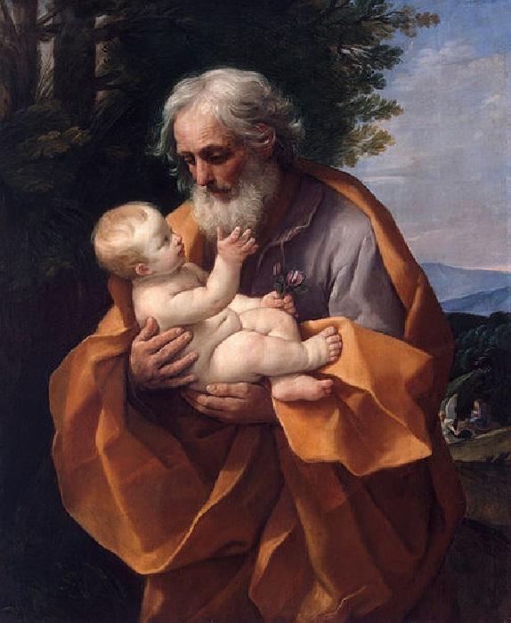 Святой Иосиф с младенцем Иисусом. (ок. 1635 года) Автор: Гвидо Рени.