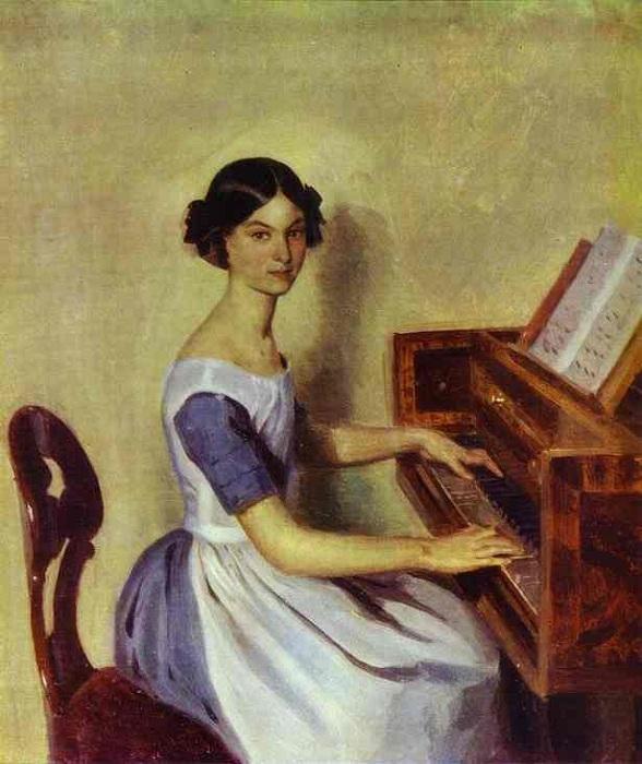 «Портрет Н.П. Жданович за фортепиано». (1850). Автор: П. Федотов.