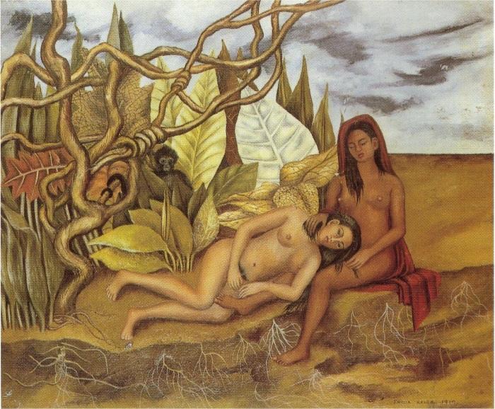 «Две обнаженные в лесу».(1939). Автор: Фрида Кало.