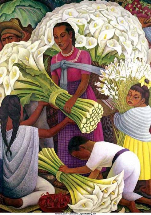 Продавщица цветов. Автор: Диего Ривера.