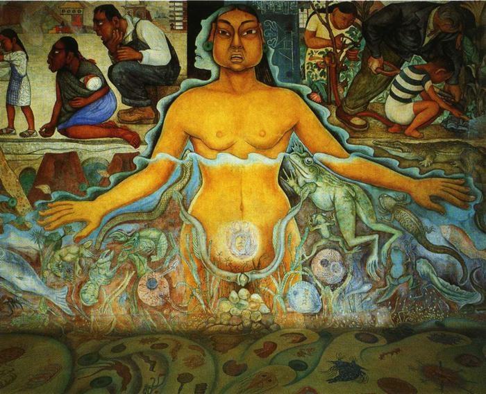 Образ, символизирующий азиатскую расу. Вода. Источник жизни. 1951. Автор: Диего Ривера.