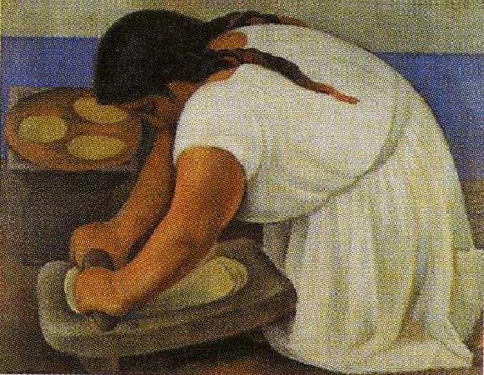 Женщина толчет кукурузу. 1924. Автор: Диего Ривера.