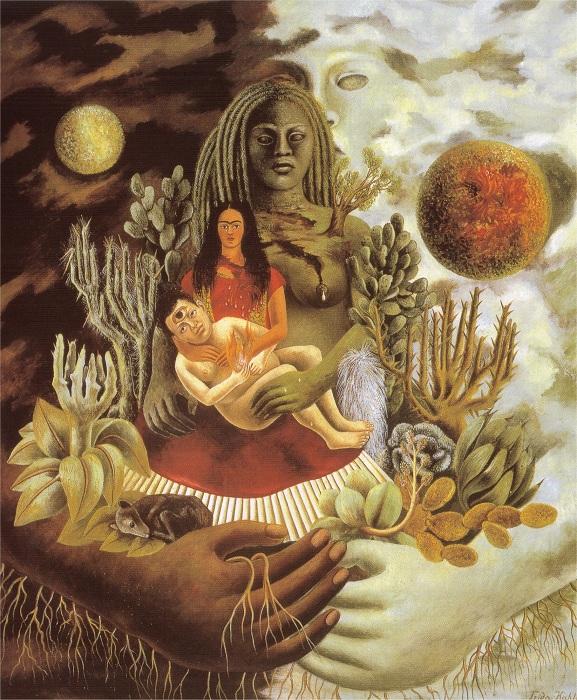 Фрида Кало. Объятия вселенской любви, Земля, я, Диего и Коатль. 1949