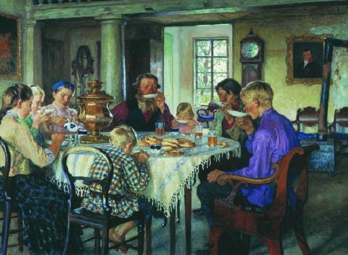 Чаепитие. Автор: Н.П. Богданов-Бельский.