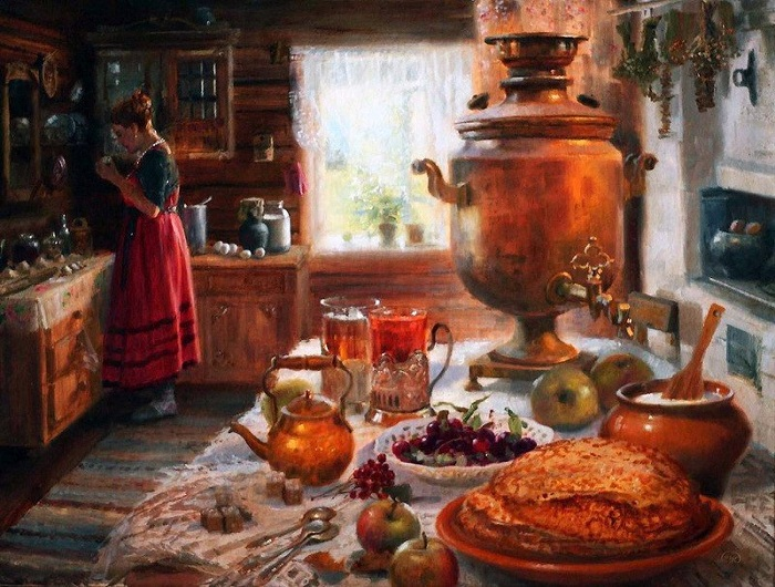 Самовар на столе. Автор: Владимир Жданов.