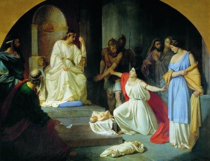 Суд царя Соломона. (1854 г.). Автор : Николай Ге