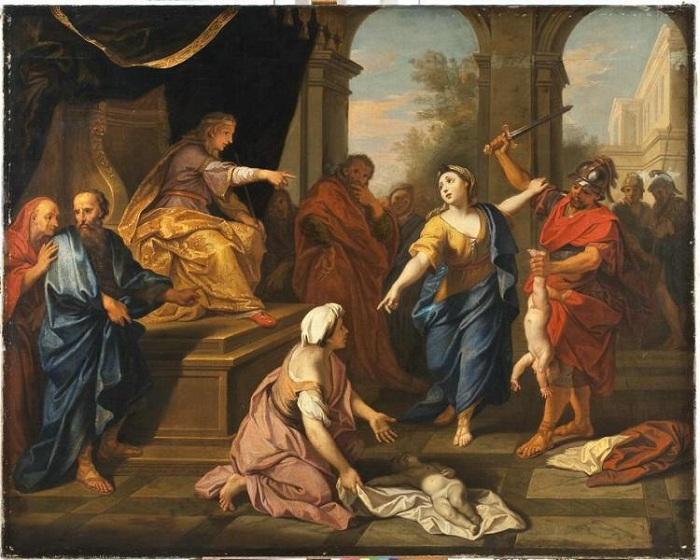 Суд Соломона. (1710). Автор: Луи Булонь младший.