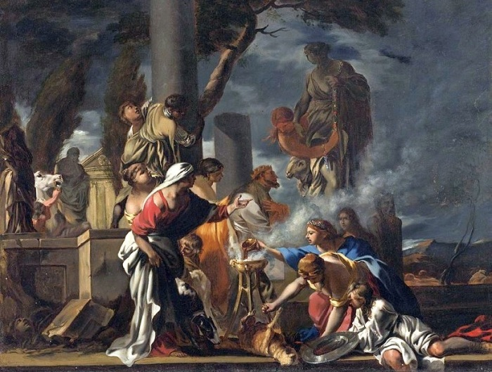 Царь Соломон приносит жертвоприношение идолам.( 17 век). Автор: Себастьян Бурдон.