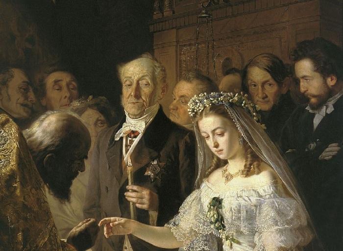 «Неравный брак». Фрагмент. Автор: В.В.Пукирев.