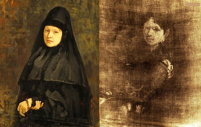 И.Е.Репин. <br>«Монахиня» 1878 г. и ее рентгенограмма.