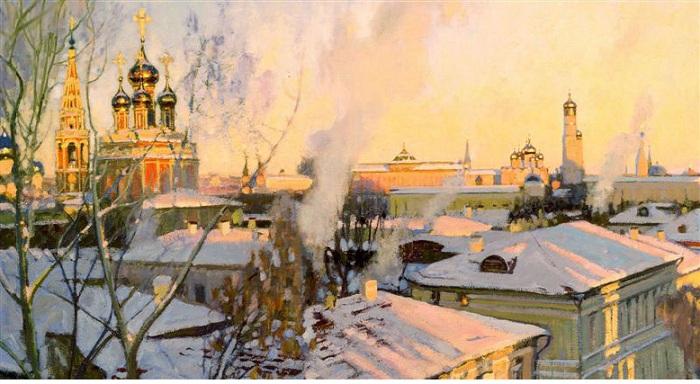 «Москва. Звенит, занимается день». (фрагмент). Автор: Смирнов Сергей Иванович.