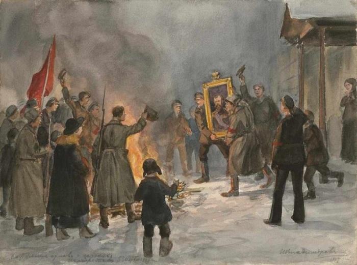 Сжигание орлов и царских портретов (1917). Автор: Иван Владимиров.