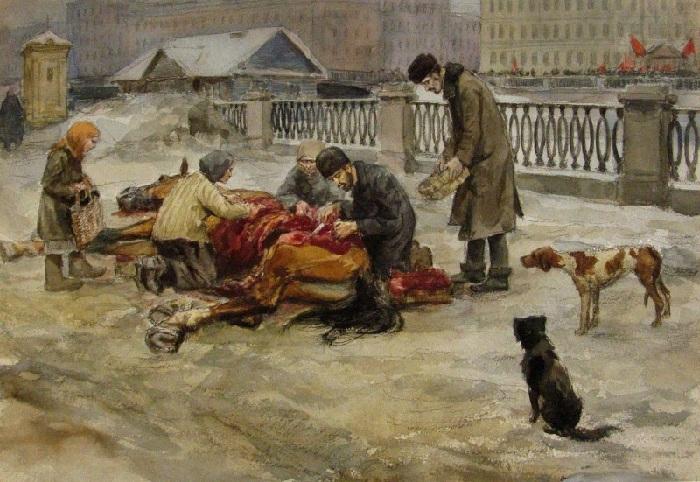 Голод в Петрограде.  Автор: Иван Владимиров.