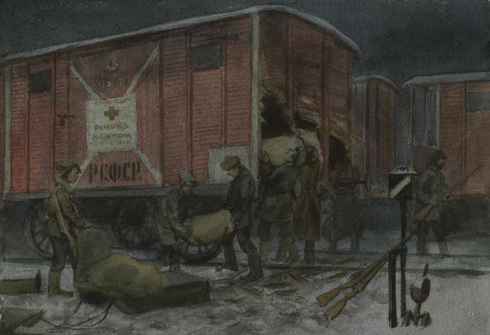 Ночное разграбление вагона с помощью от Красного креста (1922).  Автор: Иван Владимиров.
