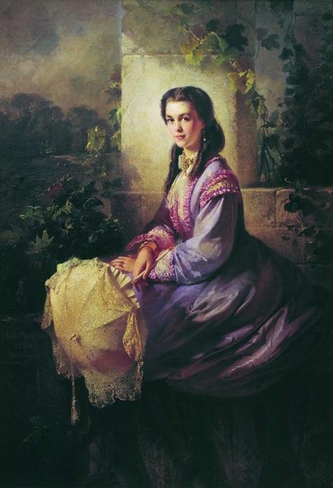 «Портрет графини С.Л.Строгановой». (1864). Автор: Маковский Константин Егорович.