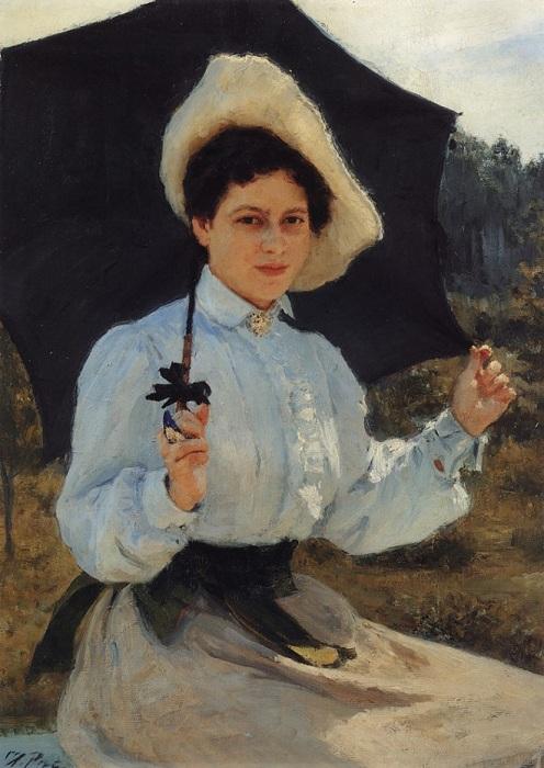 На солнце. Портрет Надежды Ильиничны Репиной. (1900). Автор: Илья Репин.