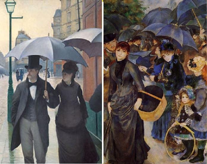 «Дождливый день».(1877). Автор: Гюстав Кайботт / «Зонтики».(1881-1886). Автор: Пьер Огюст Ренуар.