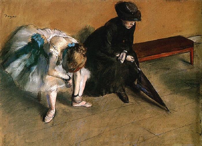 «Балерина и женщина с зонтом». Автор: Эдгар Дега.