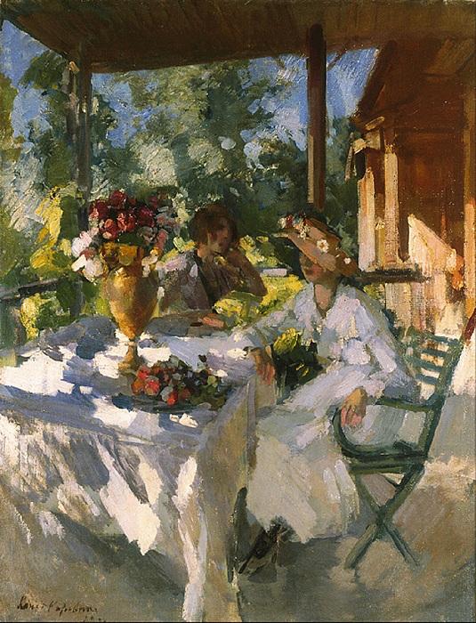 Две дамы на террасе. Автор: Константин Коровин.