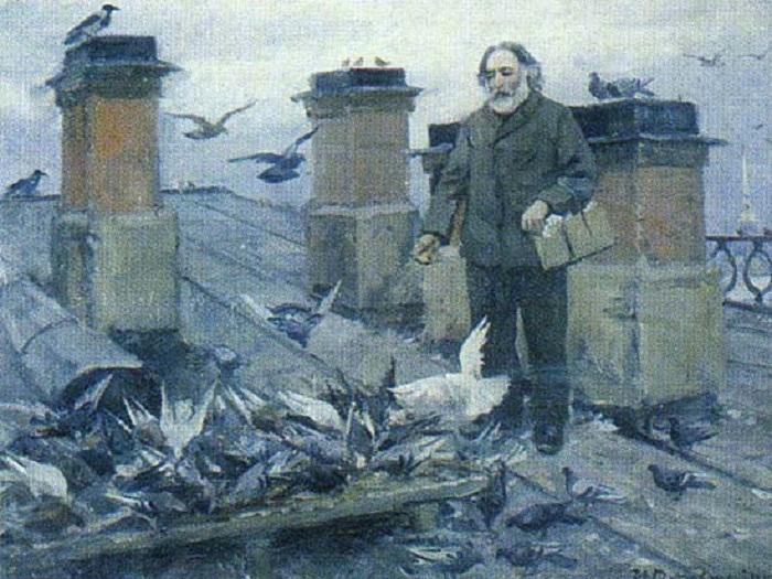 Архип Куинджи на крыше своего дома.