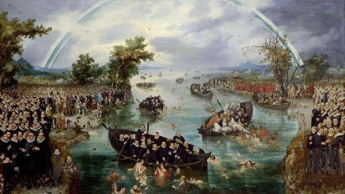 «Ловля душ» (1614 год). Государственный музей, Амстердам. Полная версия полотна. Автор: Адриан ван де Венне