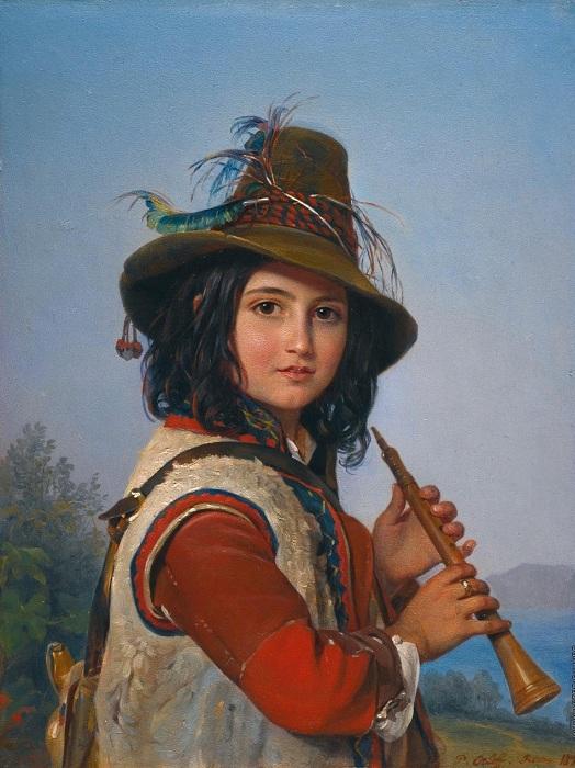 Портрет итальянского мальчика-пастуха с флейтой. Автор: П.Орлов.