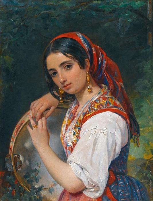 Портрет итальянской девочки-пастушки с бубном. Автор: П. Орлов.