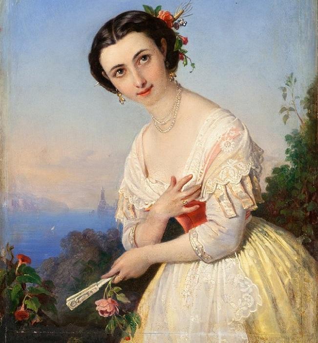 Портрет девушки с веером. (1859 год). Автор: П.Орлов.