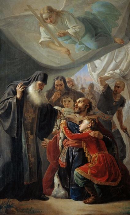 «Напутствие великого князя Михаила Тверского». (1847 год). Тверская картинная галерея. Автор: П. Орлов.