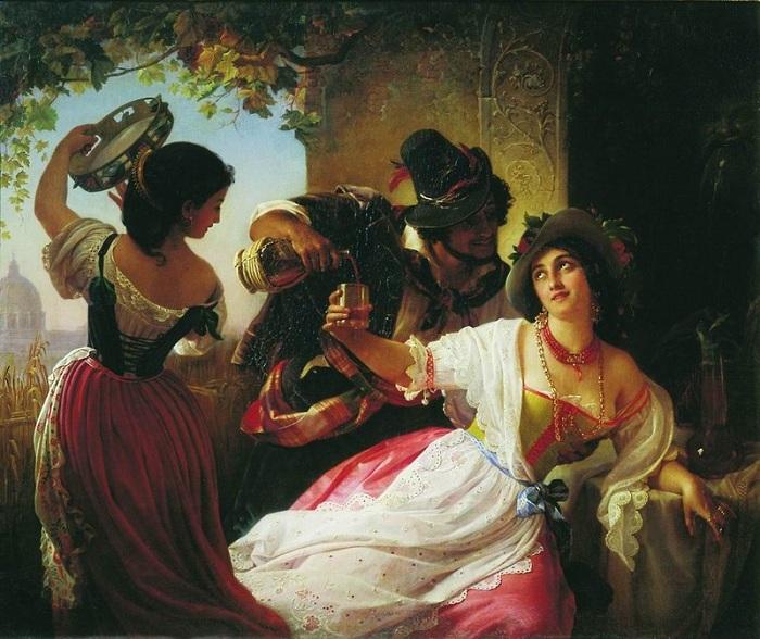«Октябрьский праздник в Риме». (1851 год). Третьяковская галерея. Автор: П. Орлов.