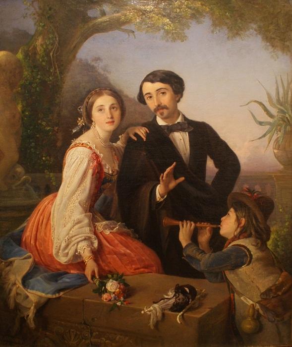А.И.Лорис-Меликов с женой и итальянским мальчиком. Автор: П.Орлов.