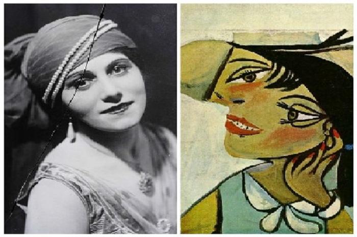 Ольга Хохлова./ Портрет женщины с горностаевым воротником (Ольга). (1923).