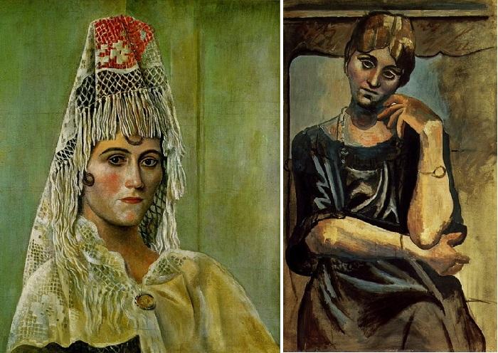 Ольга Хохлова в мантилье. (1917). / Ольга Хохлова. (1917).