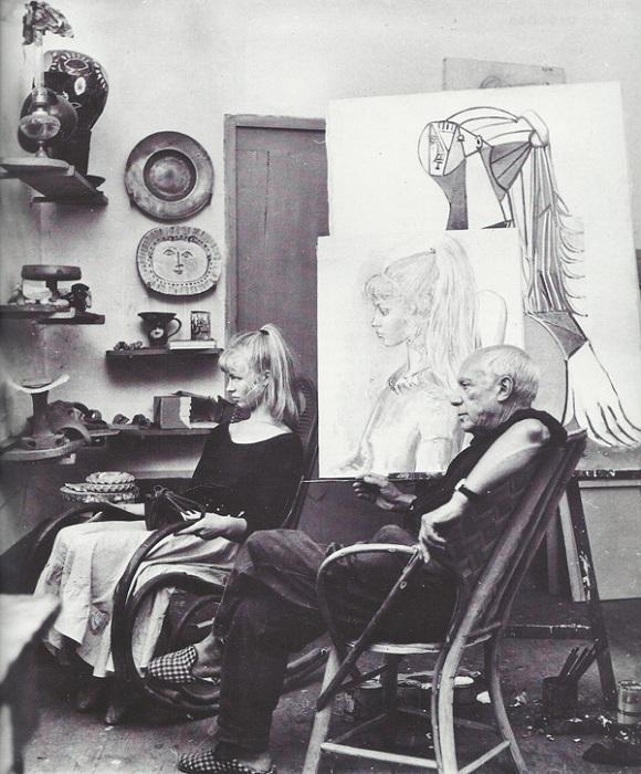 Сильветт Давид и Пабло Пикассо, 1954, фото Андре Вилье