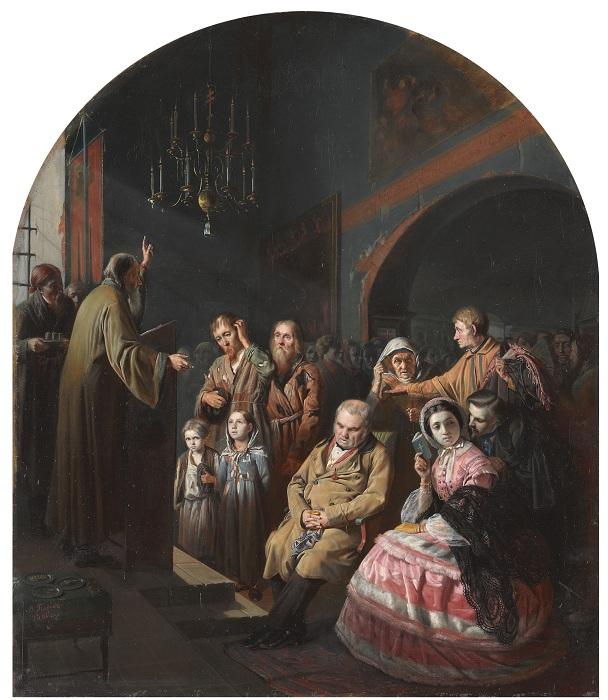 Проповедь в селе. (1861). Автор: В.Перов.