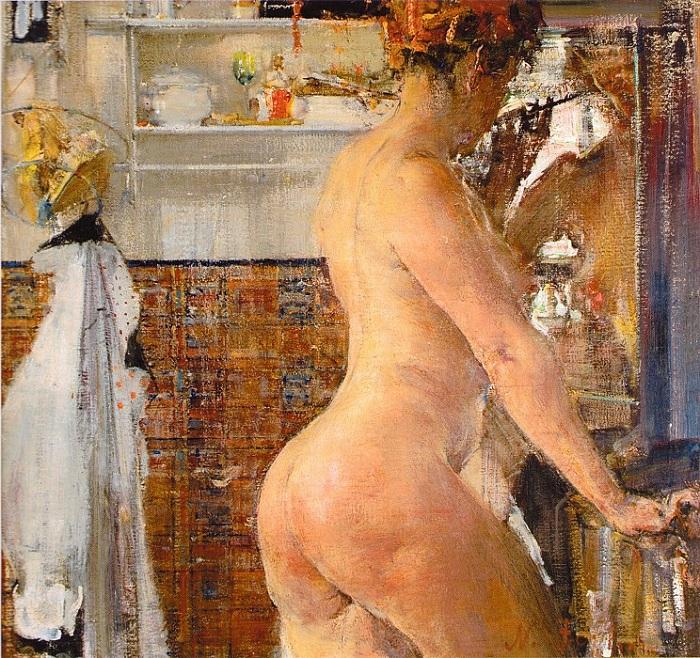 «Обнаженная в ванной комнате.» (1916). Автор: Николай Фешин.