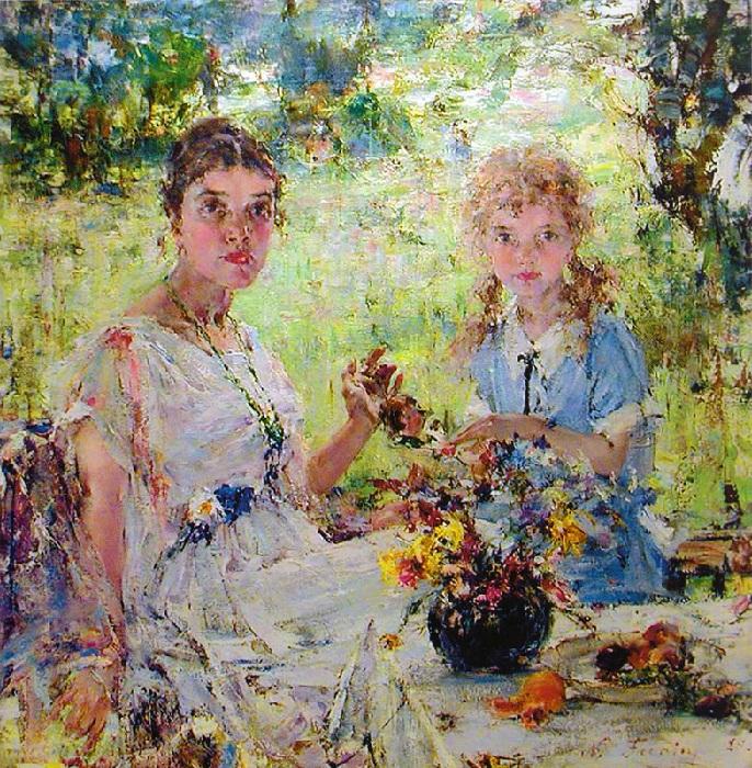Лето. (Портрет А.Н.Фешиной с дочерью Ией). (1924). Автор: Николай Фешин.