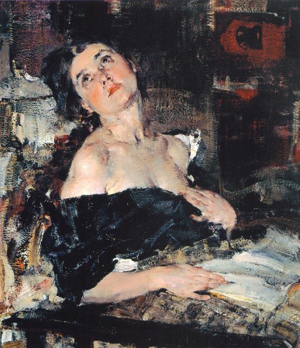 Дама в черном (Портрет А.Н.Фешиной). (1924). Автор: Николай Фешин.