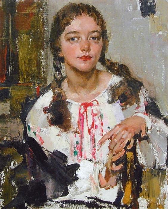 Ия в крестьянской рубахе. (1933). Автор: Николай Фешин.