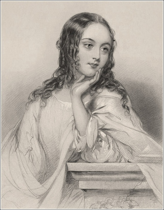 «Джульетта». (1820-е годы). Автор: Джон Хатер (John Hayter)<br>(Она ребенок. Ей в новинку свет и нет еще четырнадцати лет. Когда б еще два года пролетело, она бы для замужества созрела.)