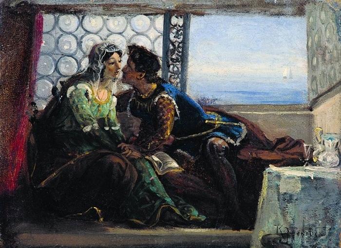 «Ромео и Джульетта». (1890-е). Этюд. Автор: Константин Маковский.