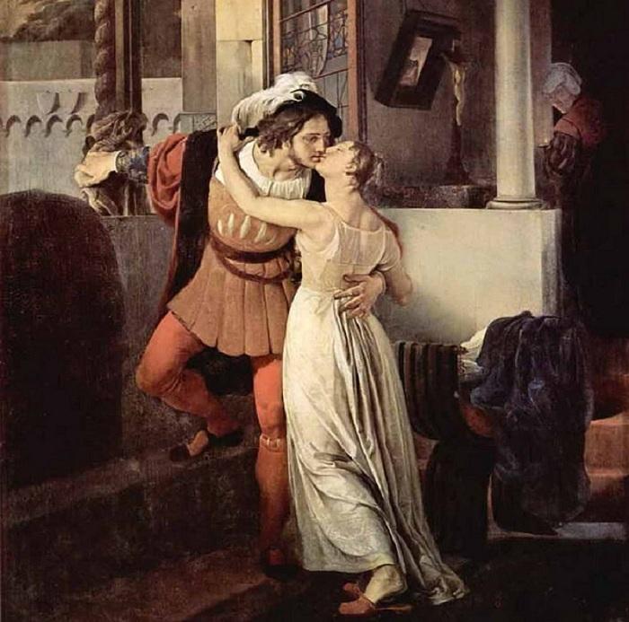 «Последний поцелуй Ромео и Джульетты». (1823 год). Автор: Франческо Айец.