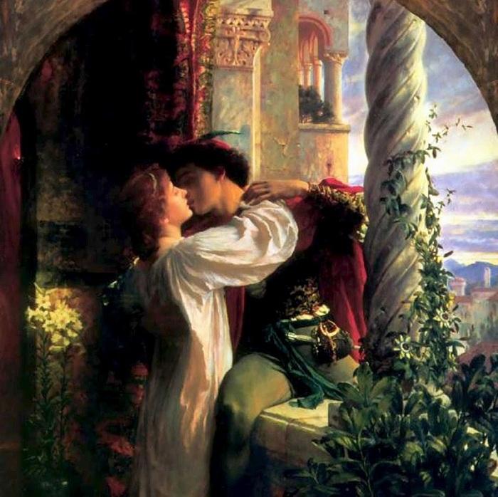 «Ромео и Джульетта» (1884год). Автор: Фрэнк Бернард Дикси. (Увы, любовь, хотя она слепа,<br>без глаз найдет, какими ей путями дойти до нас и властвовать над нами).